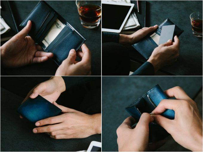 YEV122薄型二つ折り財布の各部