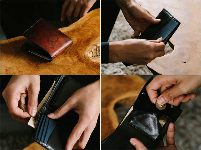 YLW130二つ折り財布の各部
