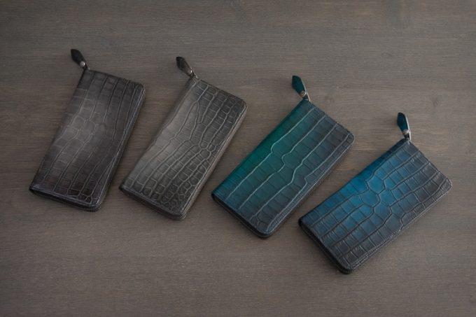 染色されたワニ革財布