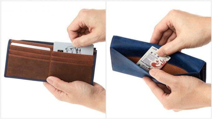 アレッジドウォレットのカードポケットとフリーポケット