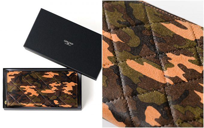 箱に入った財布と外装の起毛とカモフラ柄の画像