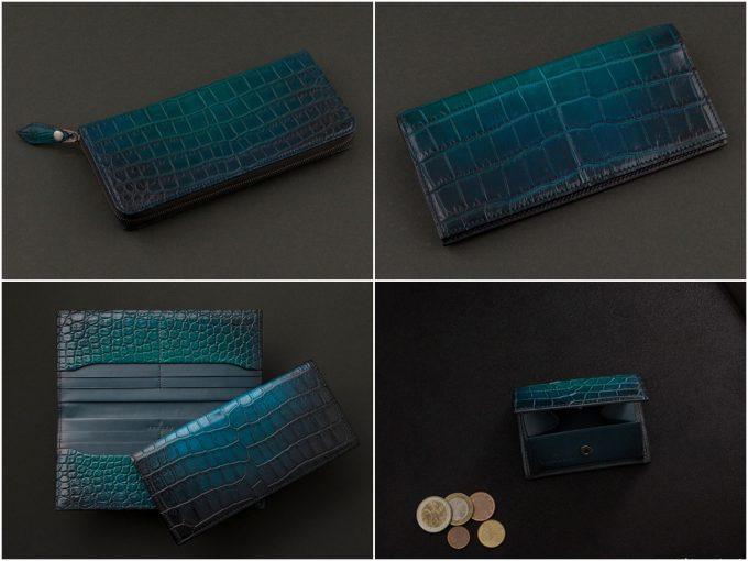 緑色のYUHAKU「Cobweb(コブウェブ)シリーズ」の財布