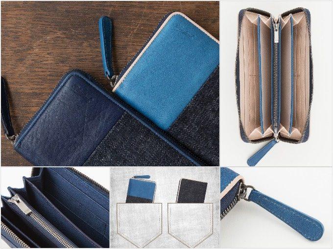 Sデニム×スクモレザーラウンドジップ長財布の各部の写真