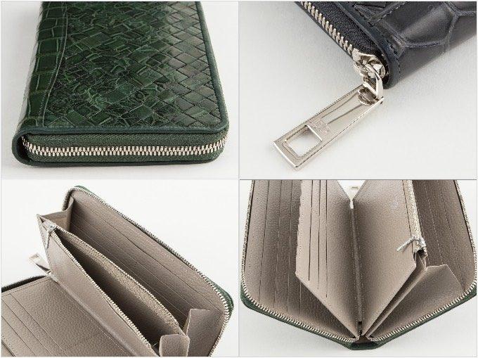 ポロサスラウンドジップ長財布の各部の写真