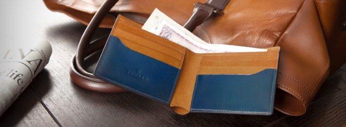 YUHAKUの小銭入れ無し二つ折り財布
