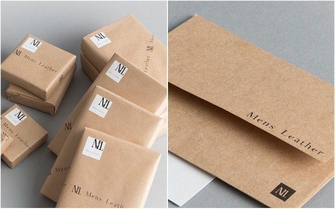 メンズレザーストアのラッピングとメッセージ封筒