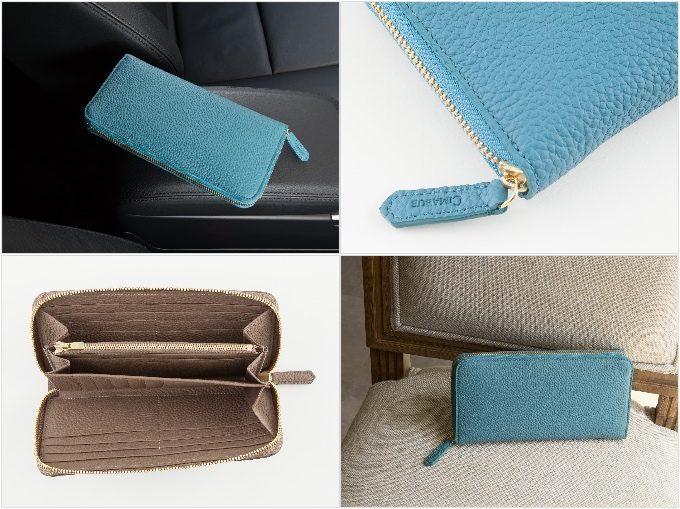 ノブレッサカーフラウンドジップ長財布の各部分の財布