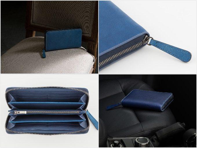スクモレザーラウンドジップ長財布の各部分の写真