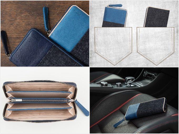 Sデニム×スクモレザーラウンドジップ長財布の各部分の写真