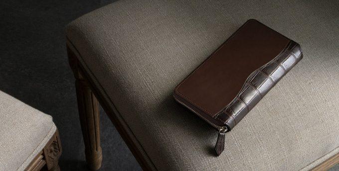 クレバレスコ製ブリランテ×クロコダイルラウンドジップ長財布のブラウン