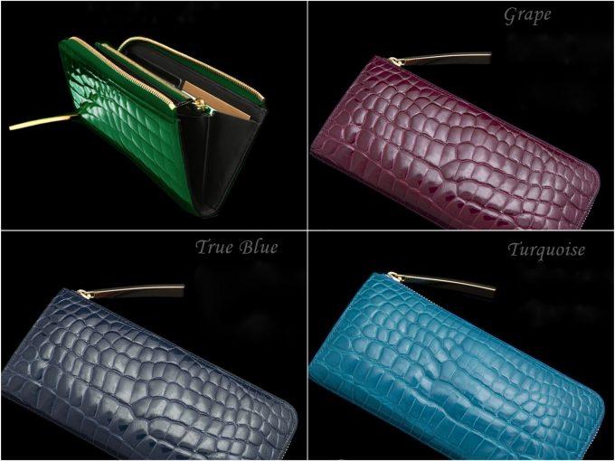 カラークロコダイルL字ファスナー長財布の写真