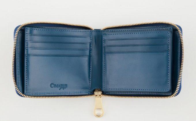 珍しいラウンドジップ(ファスナー)二つ折り財布
