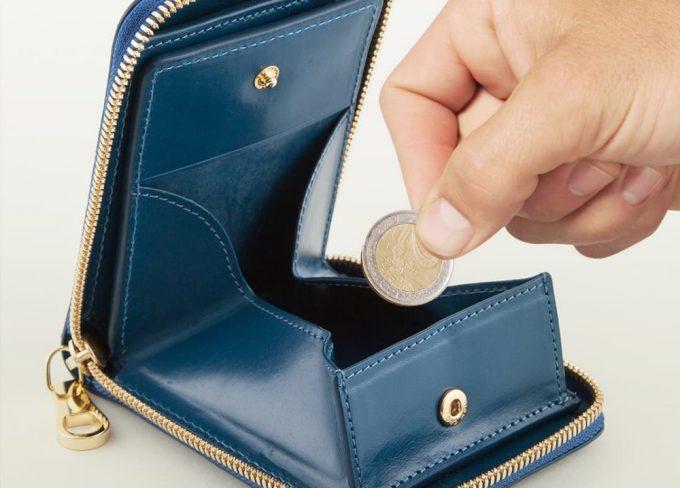 小銭が取り出しやすい二つ折り財布