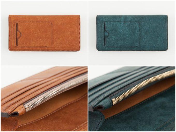 プエブロ長財布のキャメルとネイビー
