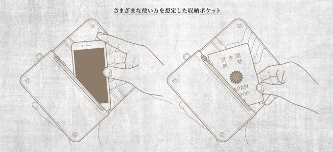 財布にiPhoneとパスポートを入れているところ