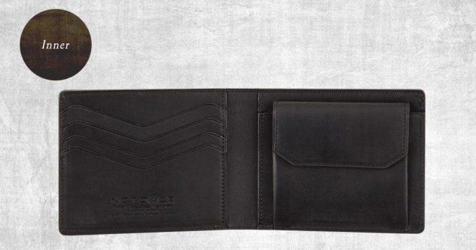 内装のセンスの良いロゴと切り込みカードポケット