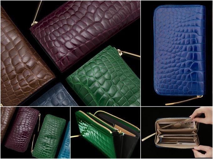 池田工芸のカラークロコダイル革財布の写真一覧
