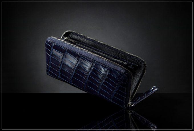 JUNYA WARASHINA(ジュンヤ ワラシナ)スクモクロコダイル(天然藍染クロコダイル)革財布
