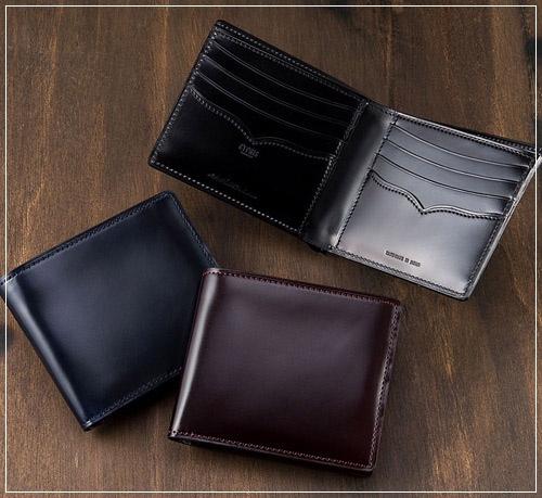 二つ折り財布(小銭入れ無し)オイルシェルコードバンアンフィニ