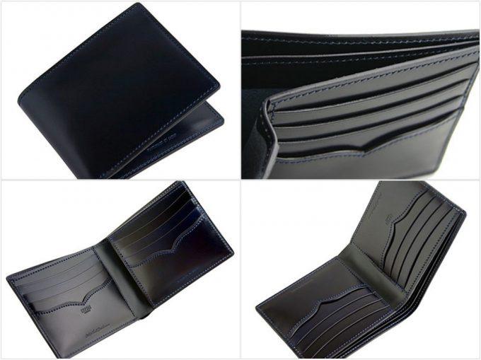 二つ折り財布(小銭入れ無し)オイルシェルコードバンアンフィニの写真