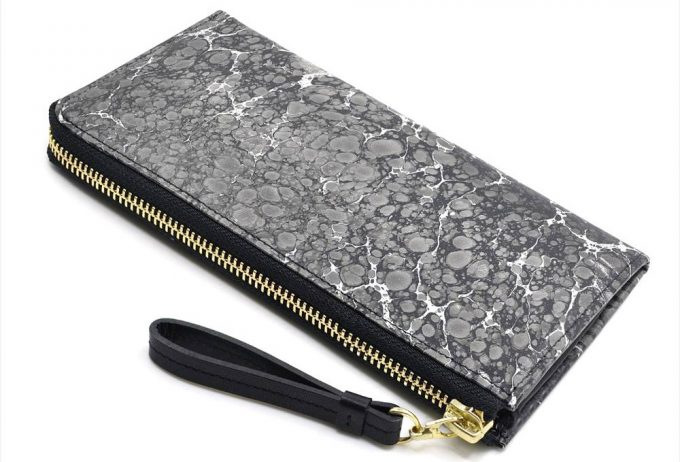 墨流し模様で作る世界で一つだけのL字ファスナー長財布