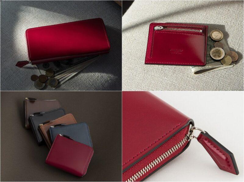 Crevaleathco・アニリン染めコードバンシリーズの各種革財布(レッド×ブラック)