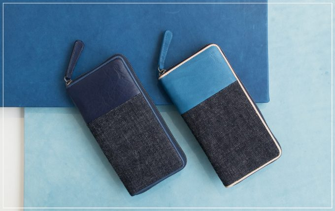 ブルーストーンのSUKUMOLeather(スクモレザー)(藍色)の財布