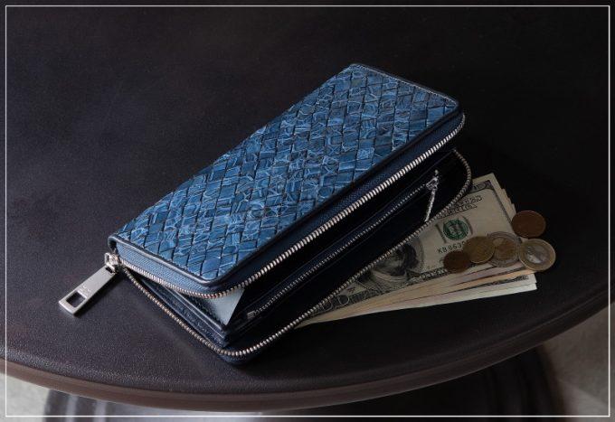 LE'SAC(レザック)・ポロサスラウンドジップ長財布(インディゴ)