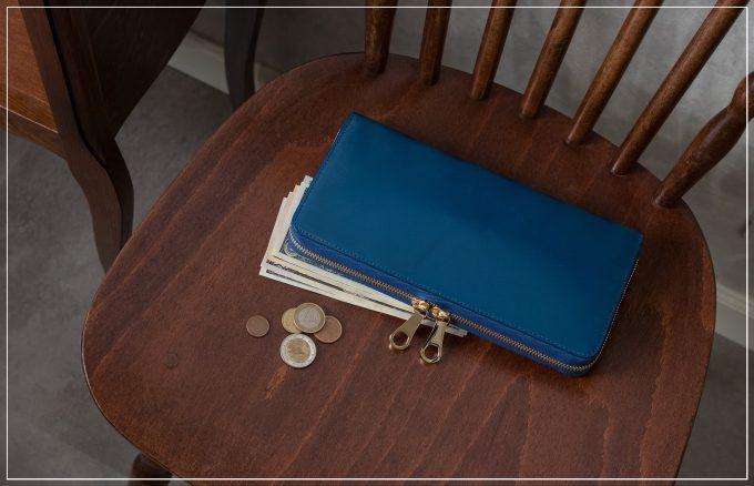 チマブエグレースフルのブライドルトラベルラウンドジップ長財布(ブルー)