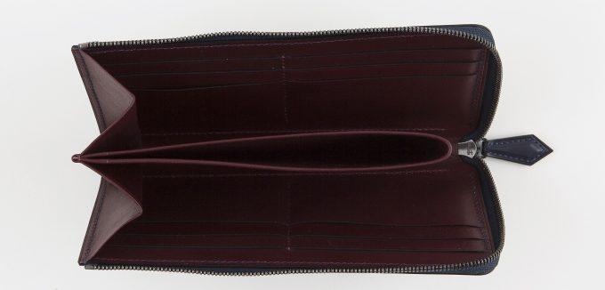 L字ジップ長財布の内装部のカードポケット