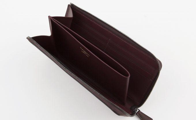 L字ジップ長財布の内装部の札入れ部と小銭入れ部