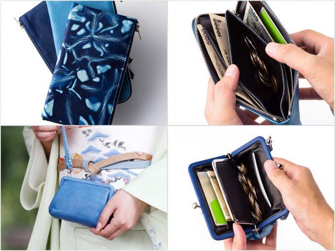池之端銀革店Cramp×SUKUMOLeather藍染めの財布の写真