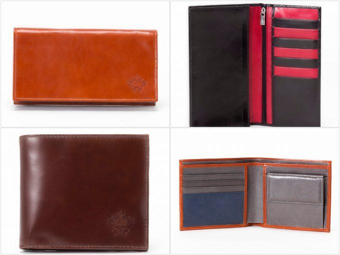 経年変化が味わえる光沢レザーシリーズの財布の写真