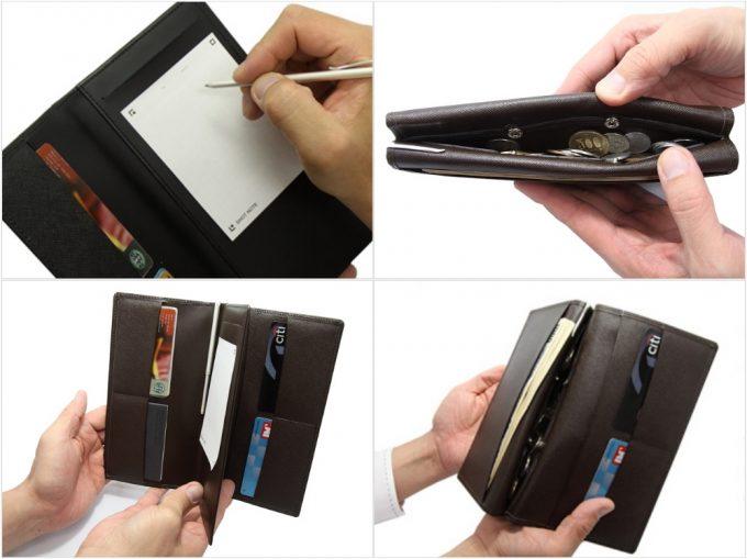 メモできる本革長財布の各部の写真