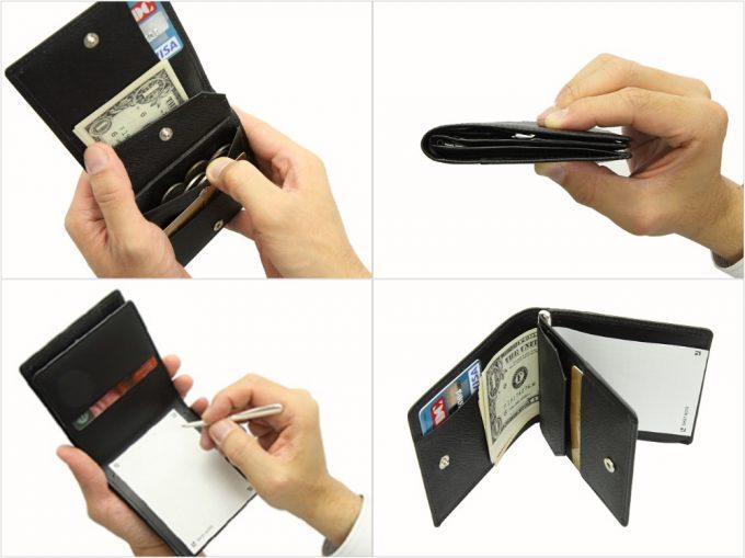 メモできる本革二つ折り財布の各部の写真