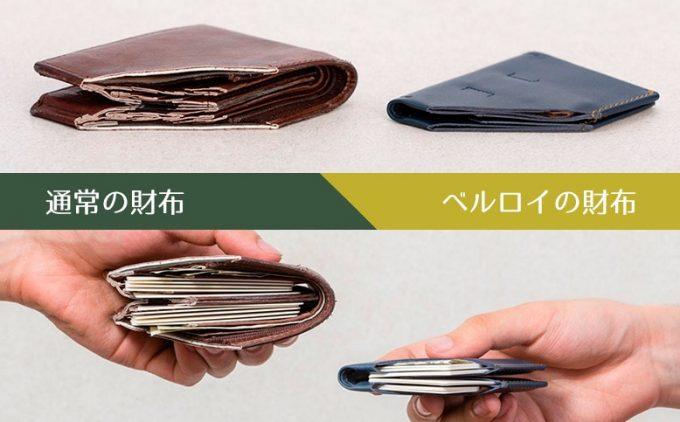 携帯性抜群のベルロイの財布と通常財布の比較