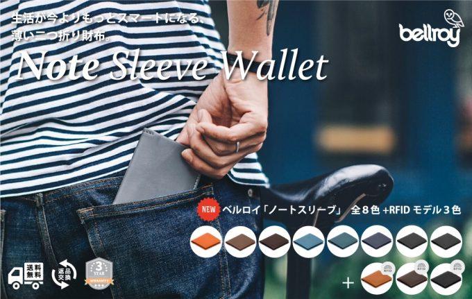 ベルロイ二つ折り財布ノートスリーブウォレット(Note Sleeve Wallet)