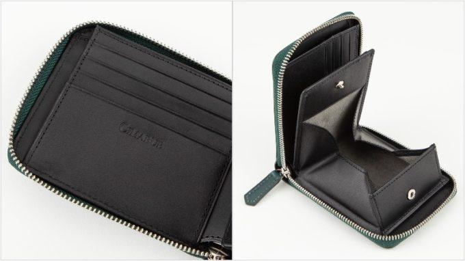 チマブエ・ブライドルラウンドジップ二つ折り財布の小銭入れ部と内装
