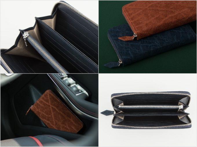 エレファント(象革)ラウンドジップ長財布の外装と内装