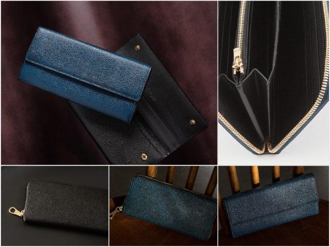 漆塗りの財布シリーズの革製品