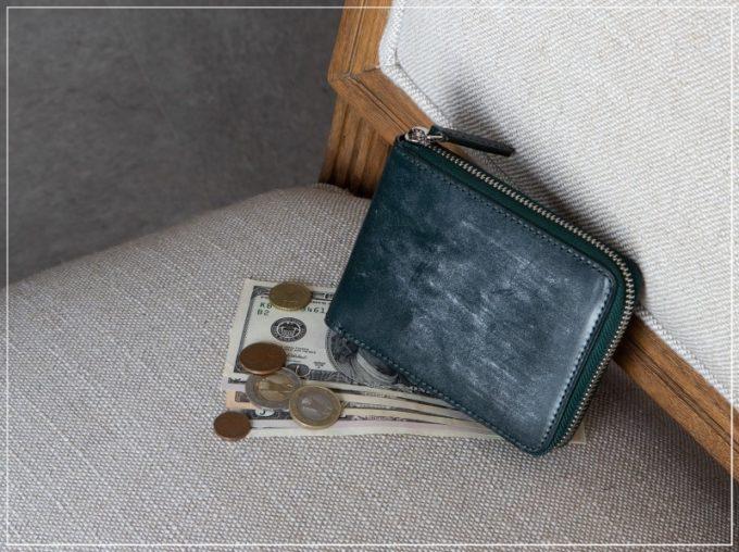 チマブエ・ブライドルラウンドジップ二つ折り財布(ボックス型小銭入れ)