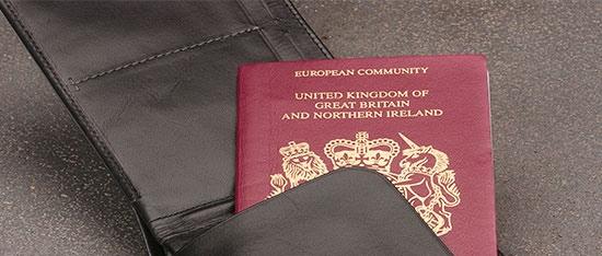 パスポートを収納しているトラベルウォレット