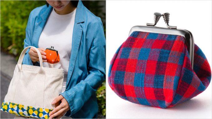久留米絣(くるめかすり)がま口2寸小銭入れを持つ女性と財布の外装