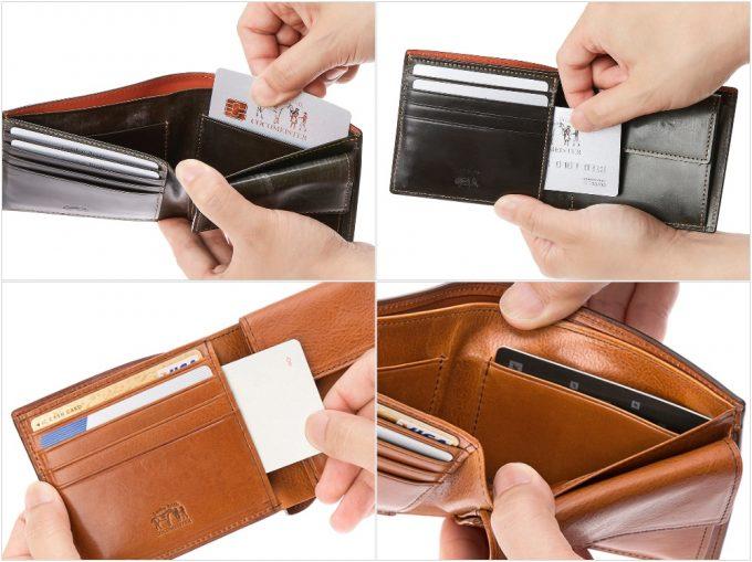 ココマイスターの二つ折り財布の収納ポケット