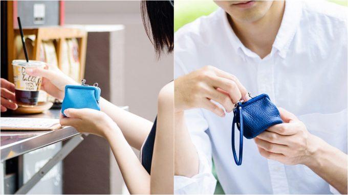 お洒落ながま口財布を持つ女性と男性