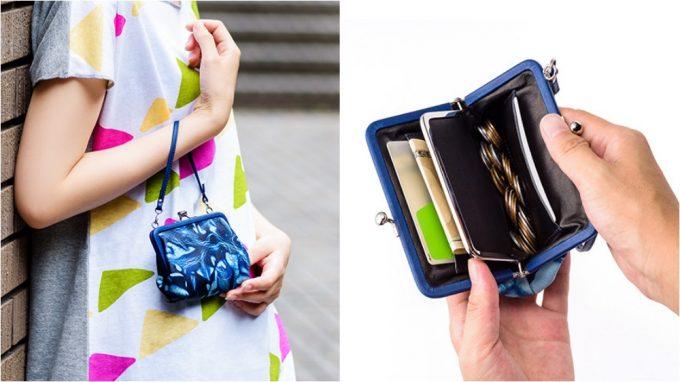 Cramp×SUKUMO Leather 藍染めがま口財布を持つ女性と財布の内装