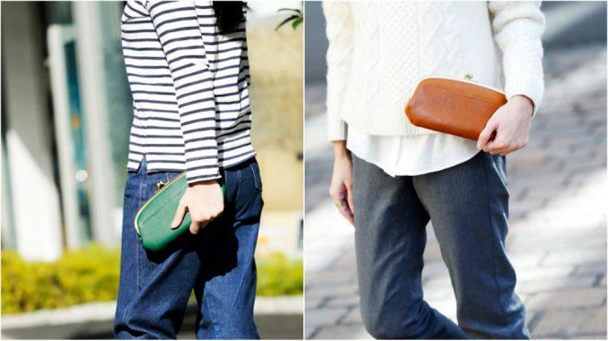 オイルシュリンクレザー口金財布を持つ女性と男性
