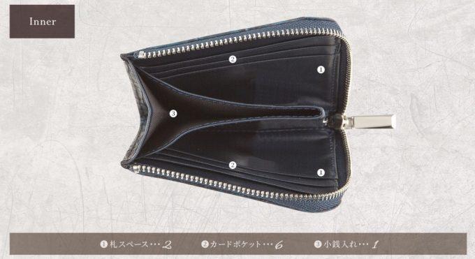 ナイルクロコダイル手染めL字ハーフウォレットの収納ポケット一覧