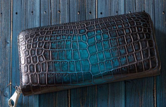 KAWAGEININの財布(手染めラウンドジップウォレット)