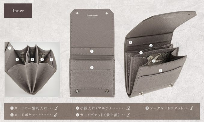 Adria Leather Bill Fold Walletの収納ポケット